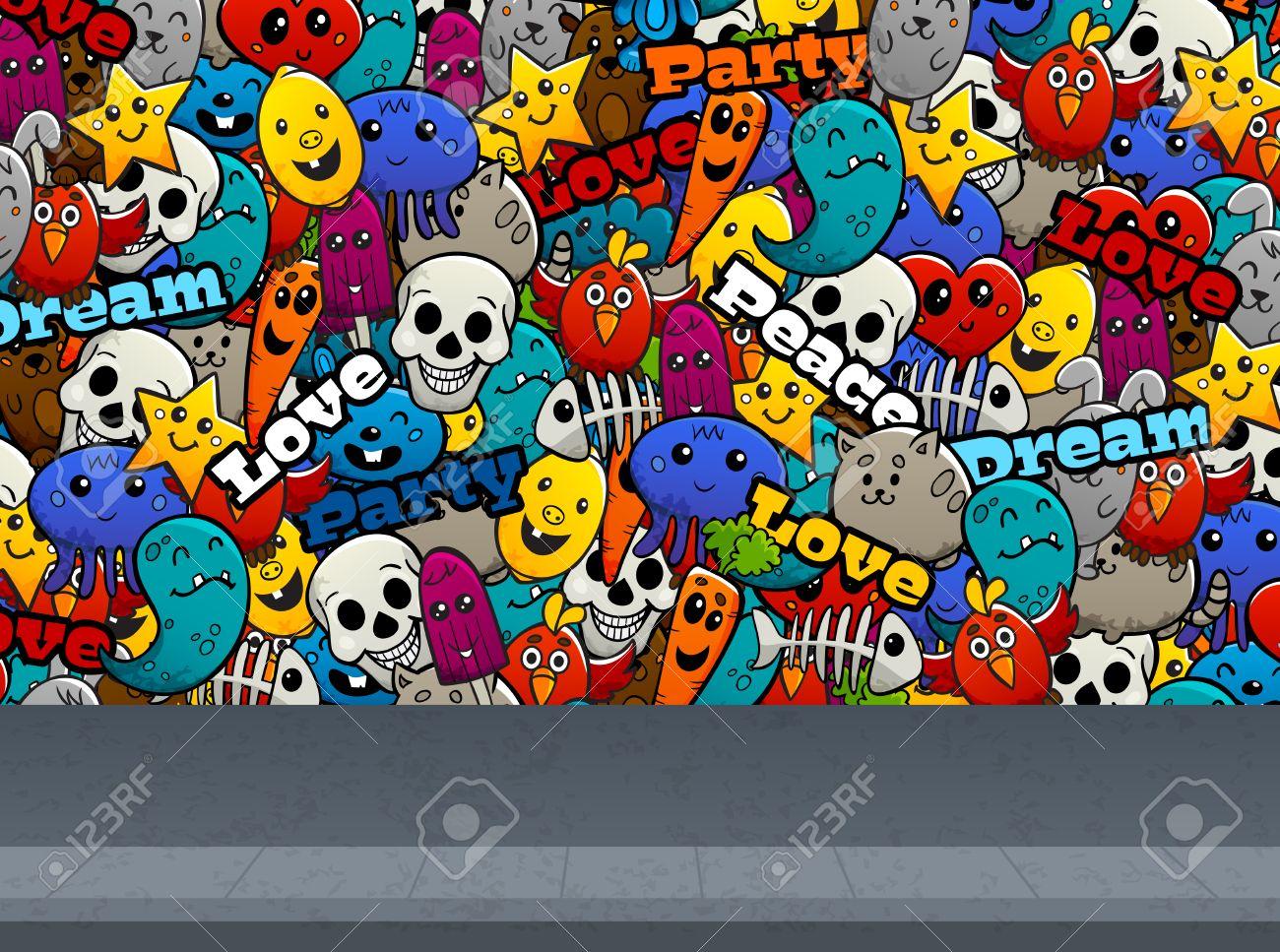grafitis Personajes de dibujos animados abstracto de la pintada y el amor de la paz