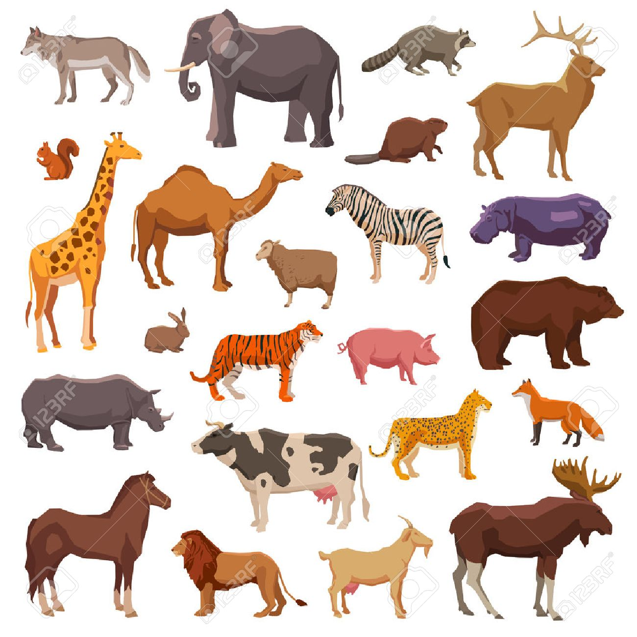Big wild domestic and farm animals decorative icons set isolated vector illustration Stock Vector - 43210277