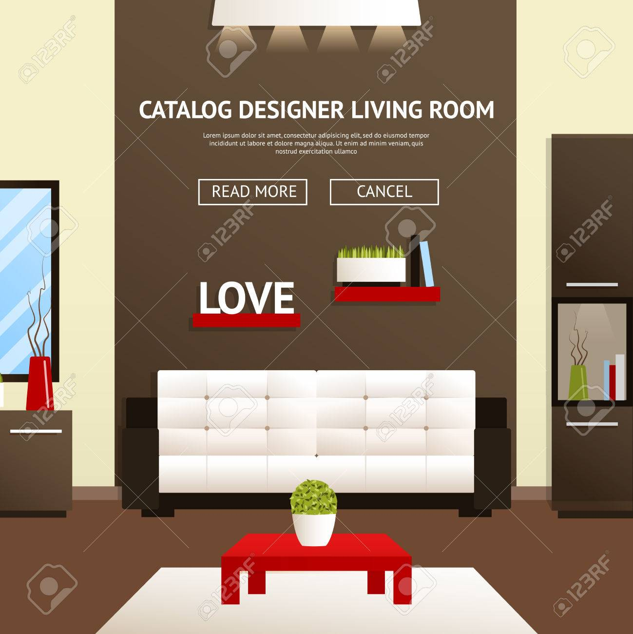 Living Room Furniture Templates designer catalog template of modern living room furniture vector