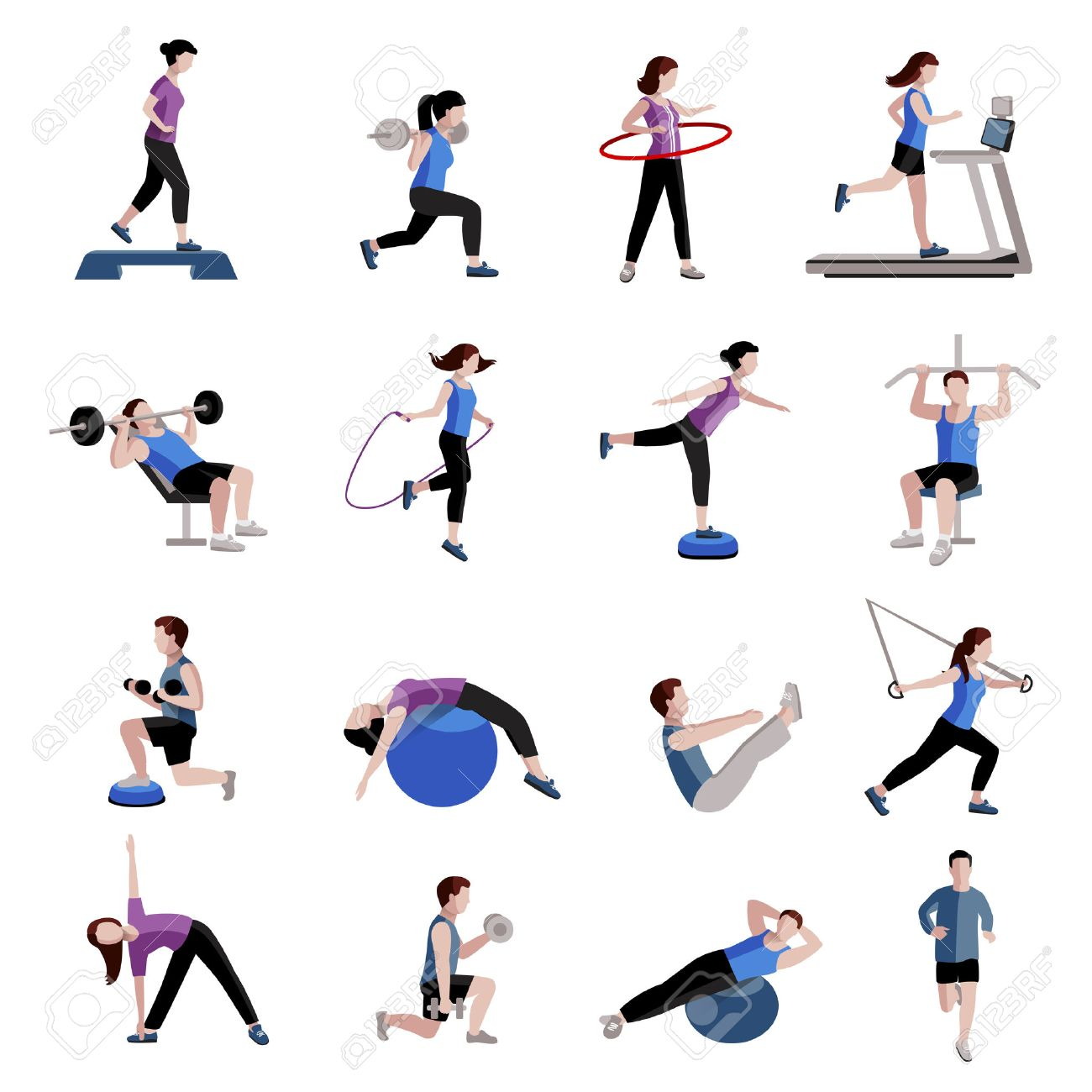 Fitness cardio exercise and equipment for men women two tints flat icons collections abstract isolated vector illustration - 43210300
