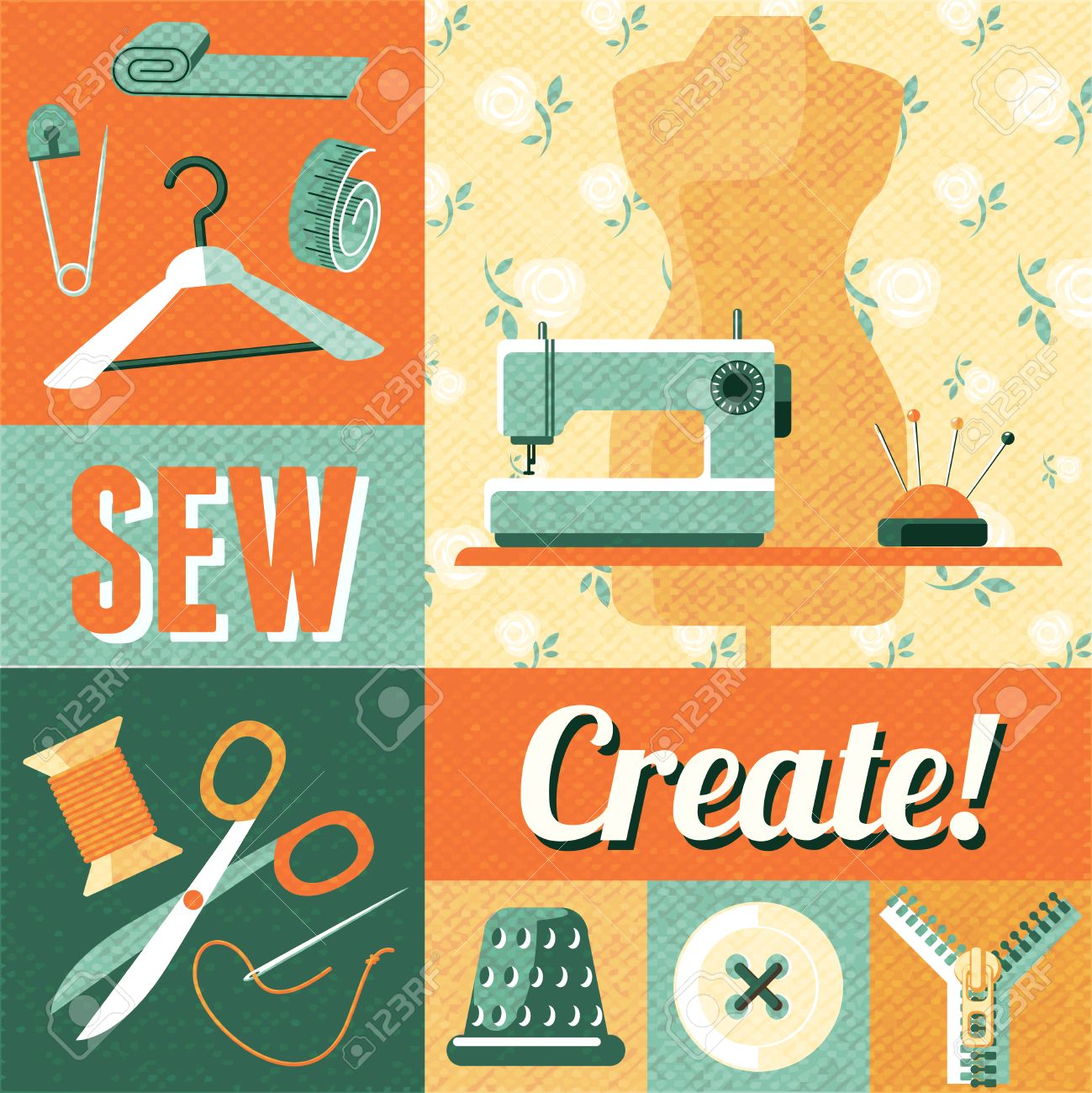 Vintage home sewing do it yourself craft decorative poster with vintage home sewing do it yourself craft decorative poster with tailor scissors and mannequin abstract vector solutioingenieria Image collections