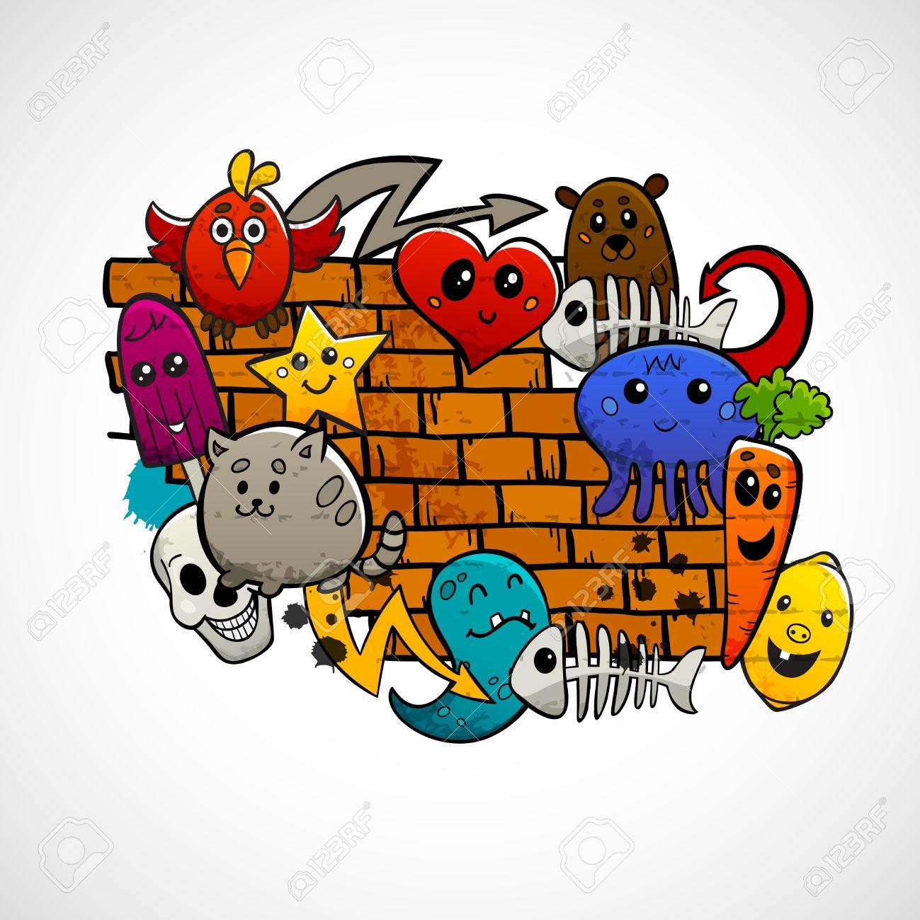 graffiti dibujos animados Graffiti animales de dibujos animados frutas y personajes abstractas alrededor de la