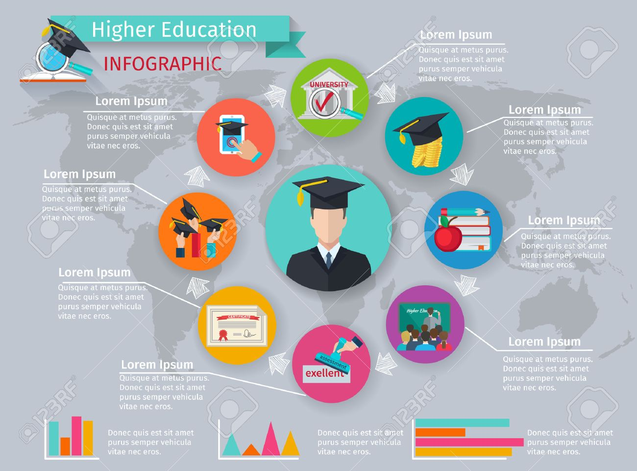 Higher education infographics with studying and graduation symbols vector illustration Stock Vector - 43210884