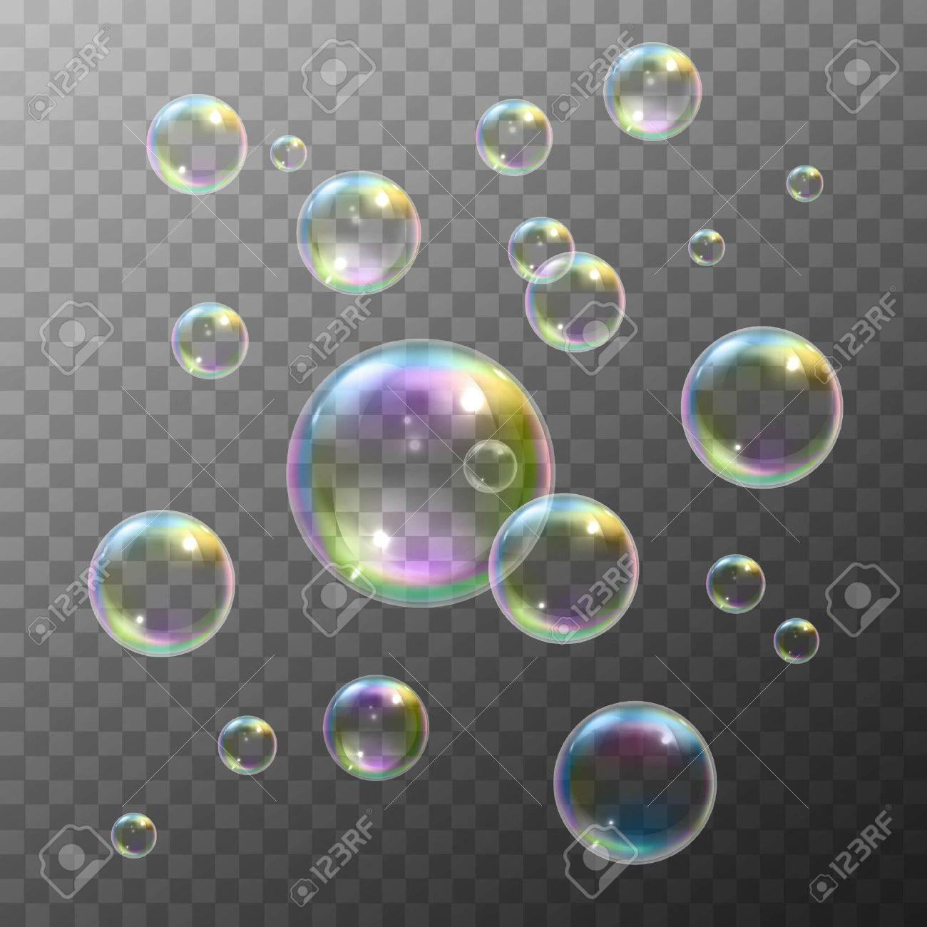 Réaliste bulles de savon avec arc en ciel réflexion, créé isolé illustration vectorielle