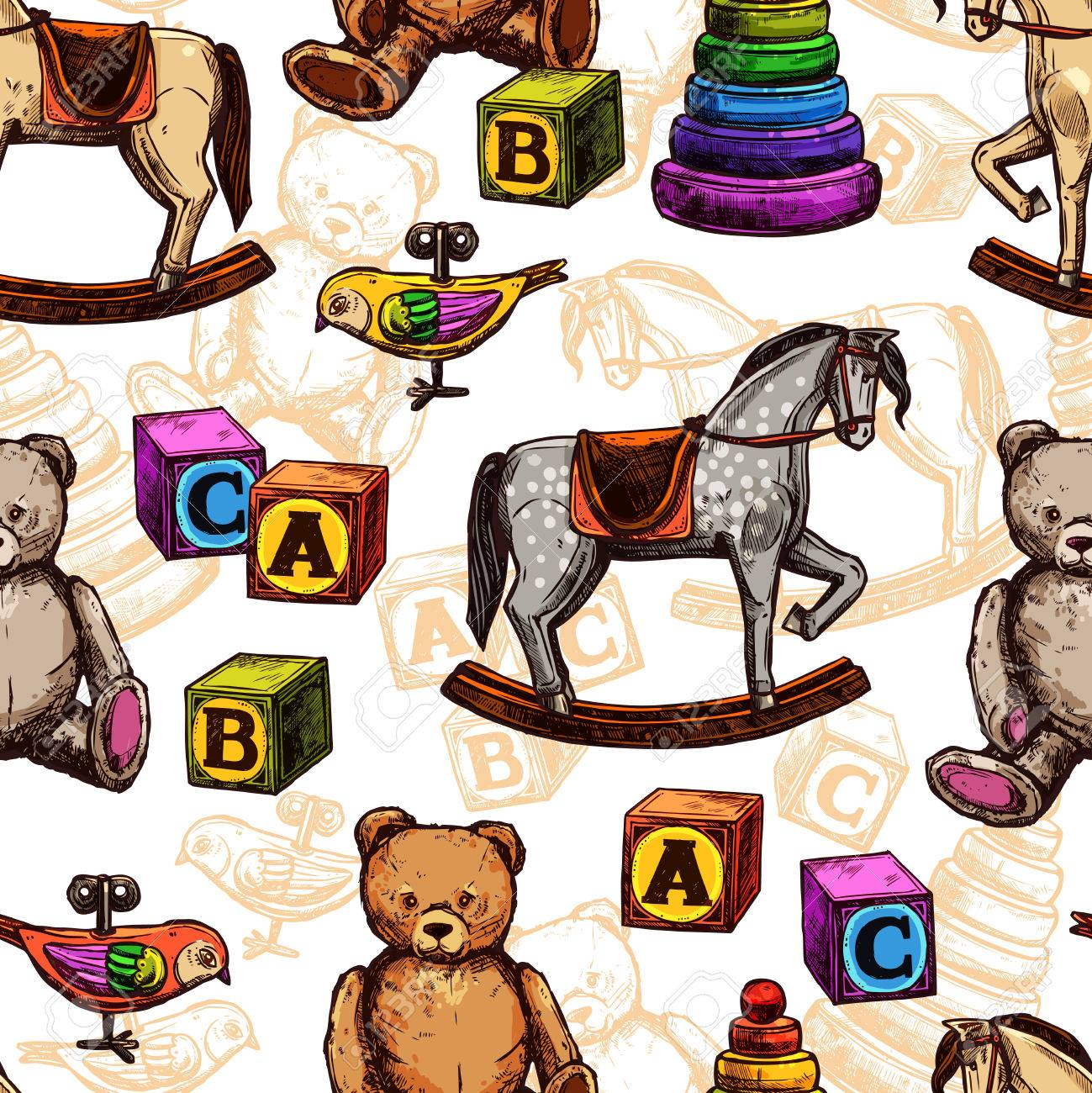 Vintage Toy Seamless Pattern With Sketch Rocking Horse Teddy Royalty Free Cliparts Vectors And Stock Illustration Image 44389363