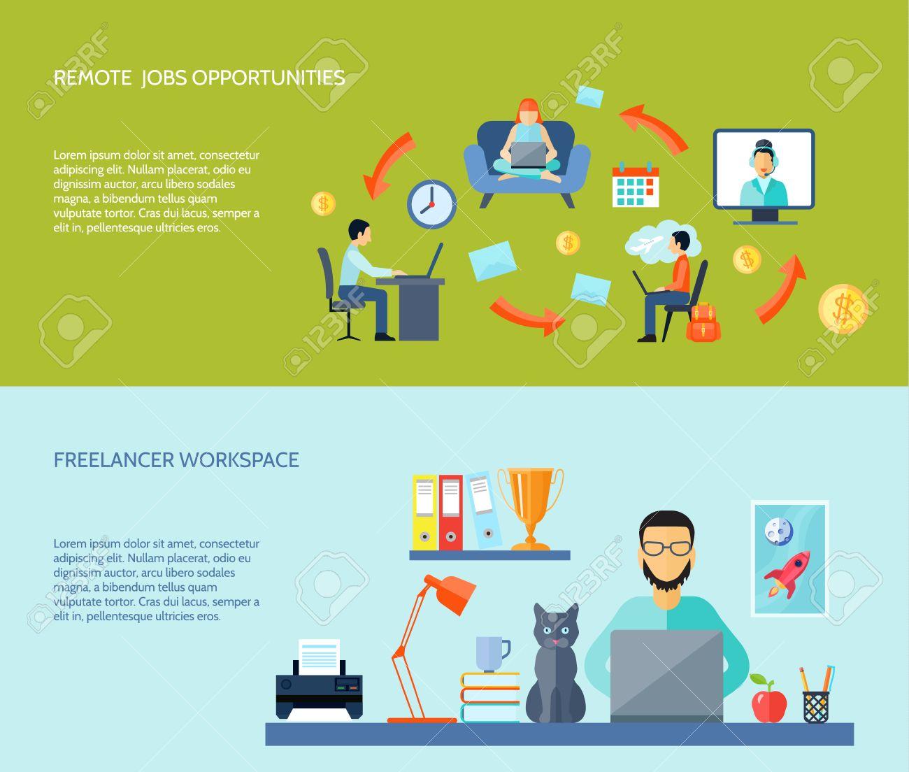 espacio de trabajo freelancer en casa y trabajos remotos color plano banner horizontal conjunto aislado