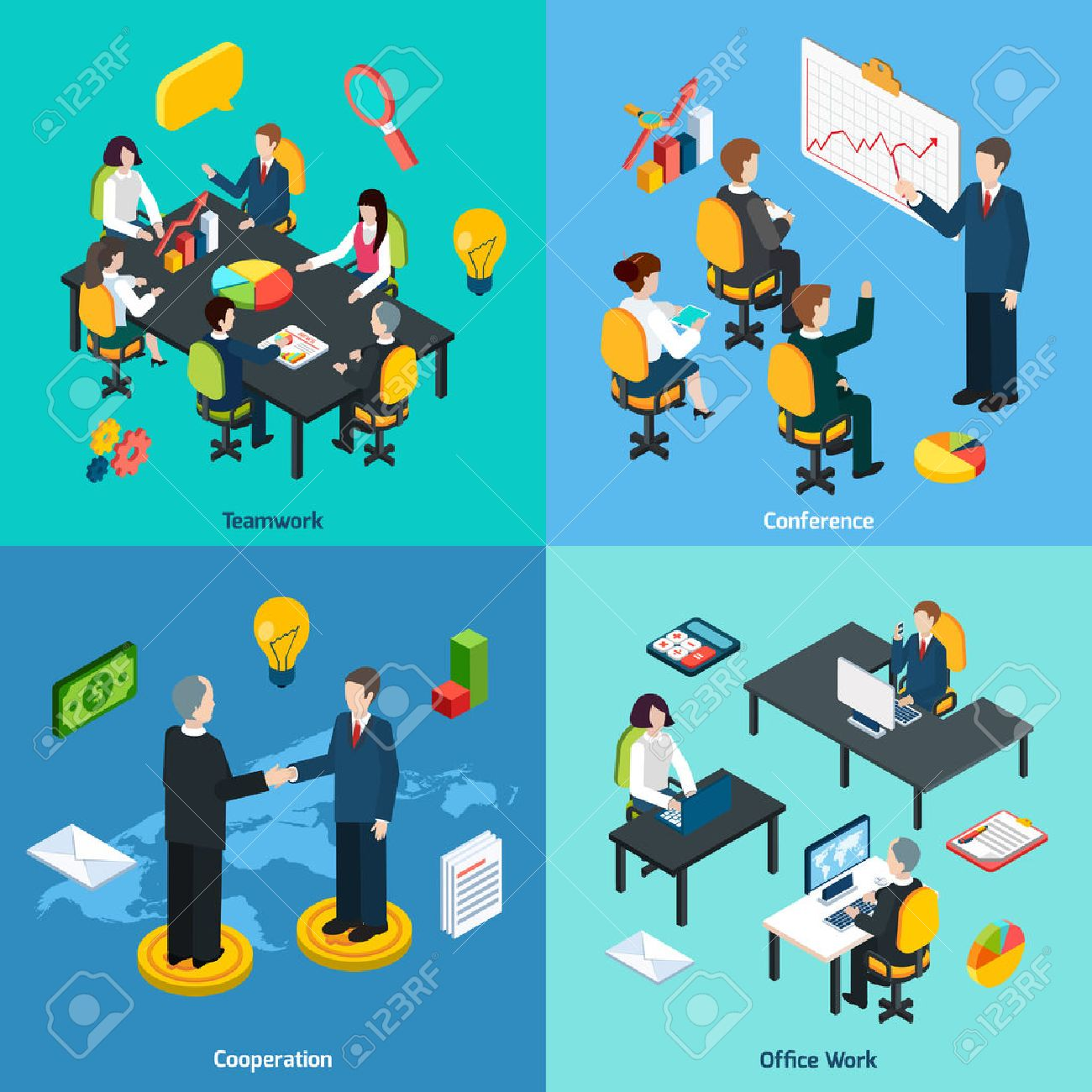cooperation stock photos images royalty cooperation images cooperation business teamwork innovative ideas sharing conference and collaboration concept 4 isometric icons composition abstract