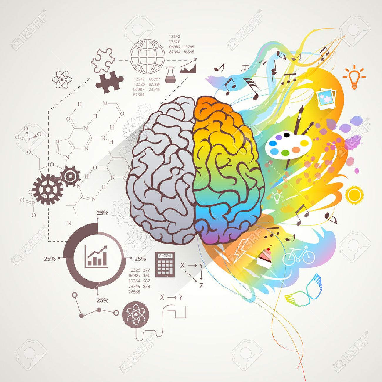 Left and right brain concept with colors music and science flat vector illustration - 44389524