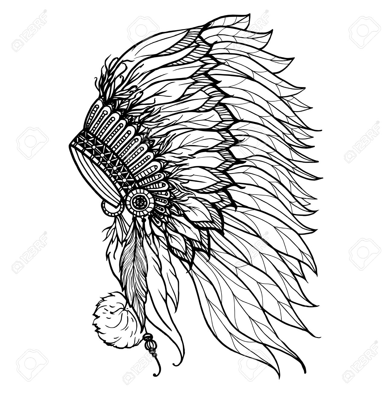 Doodle Headdress For Native American Indian Chief Isolated On ...