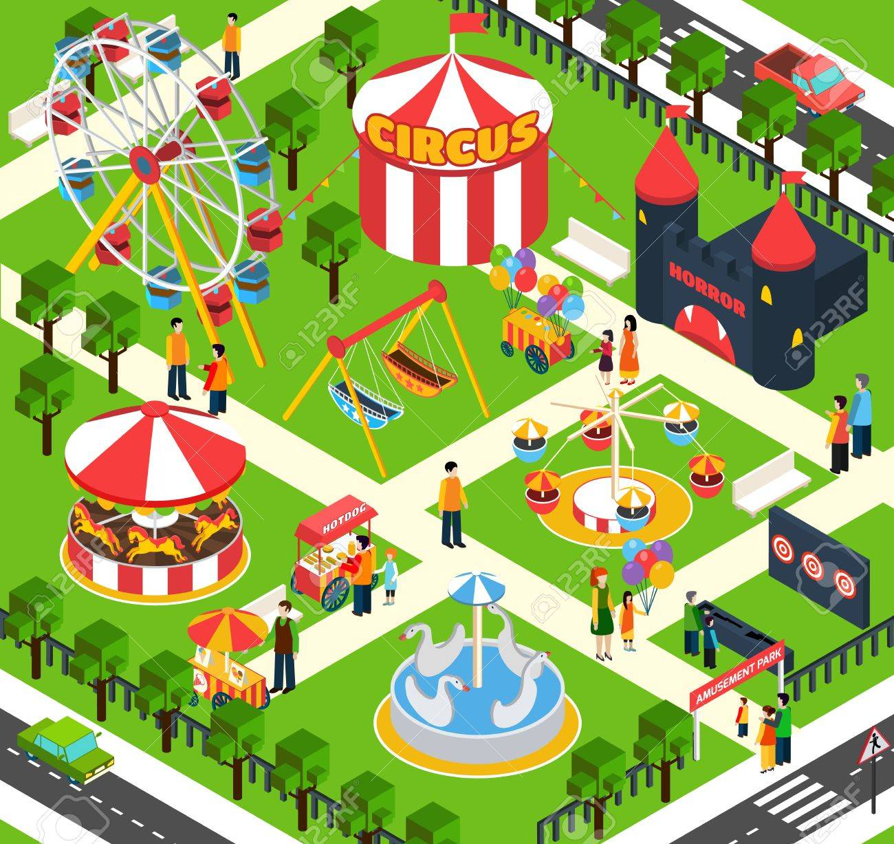 Amusement Park Isometric With 3d People Figures And Oudoors Objects Vector Illustration Stock