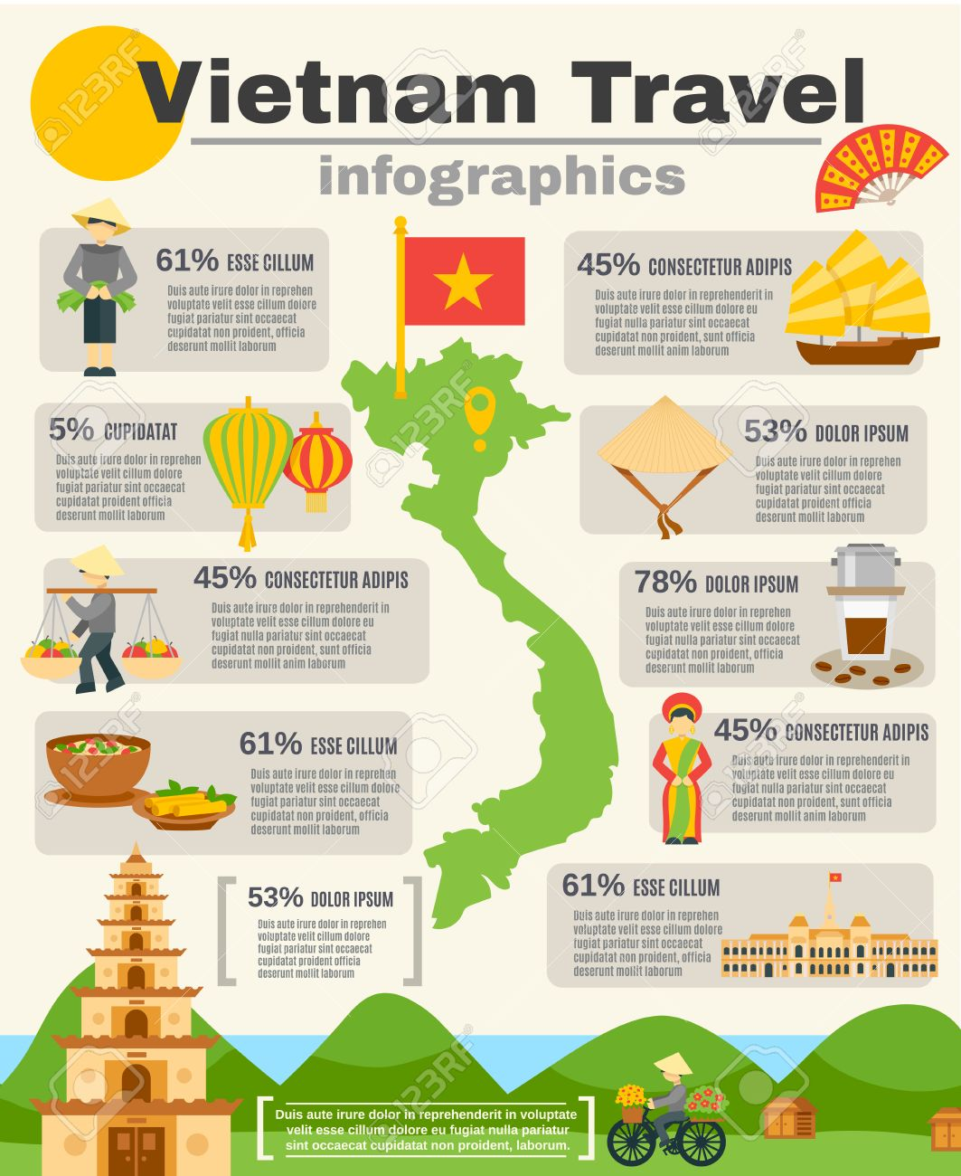 Mountains In Vietnam Map.Vietnam Travel Infographic Set With Map Flag And Mountains Flat