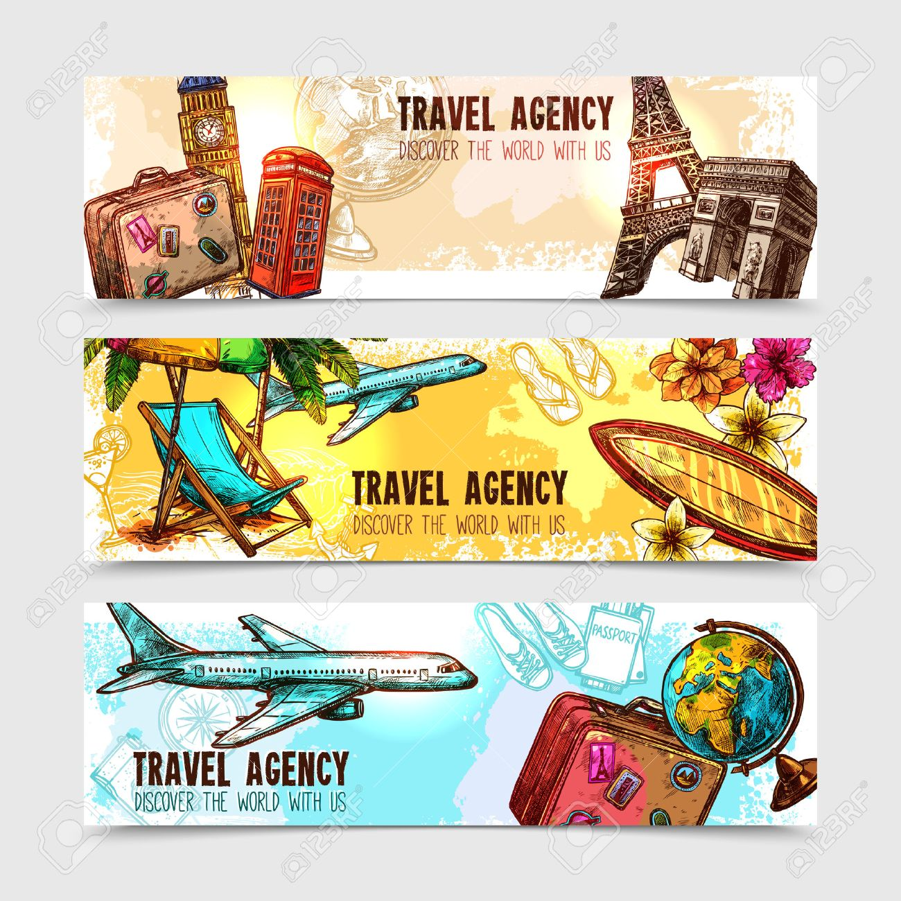Travel horizontal banner set with sketch landmarks and vacation elements isolated vector illustration Stock Vector - 44389707