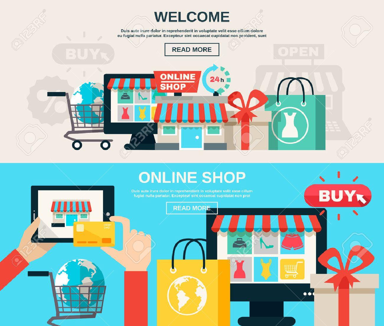 9245a2aafe Bienvenido tienda online o en el mercado web y comprar color de línea plana  banner horizontal