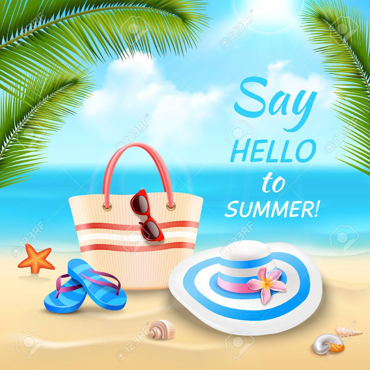 Fondo De Vacaciones De Verano Con Bolsa De Playa Sombrero Y Flip ...