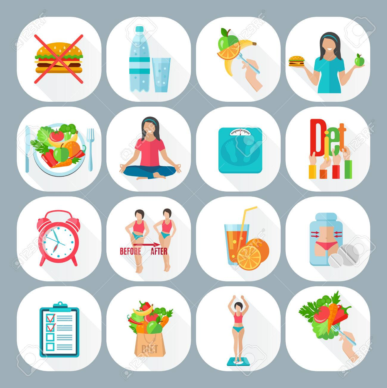 Diet plan for healthy life - Healthy Life Style Low Fat Vegetarian Diet Plan With Meditation Flat Icons Set Abstract Isolated Vector