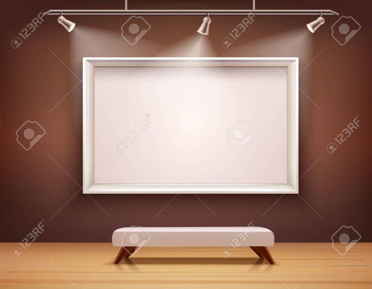 Interior De La Galería De Arte Con El Marco Blanco Y La Ilustración ...