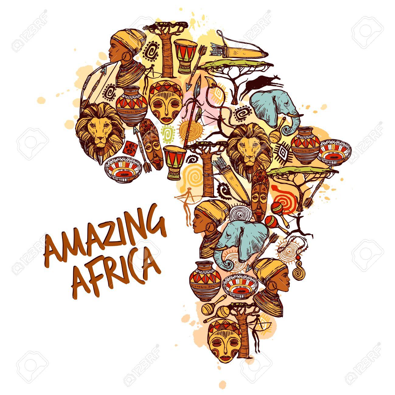 Africa concept with sketch african symbols in continent shape africa concept with sketch african symbols in continent shape vector illustration stock vector 45162885 buycottarizona Image collections