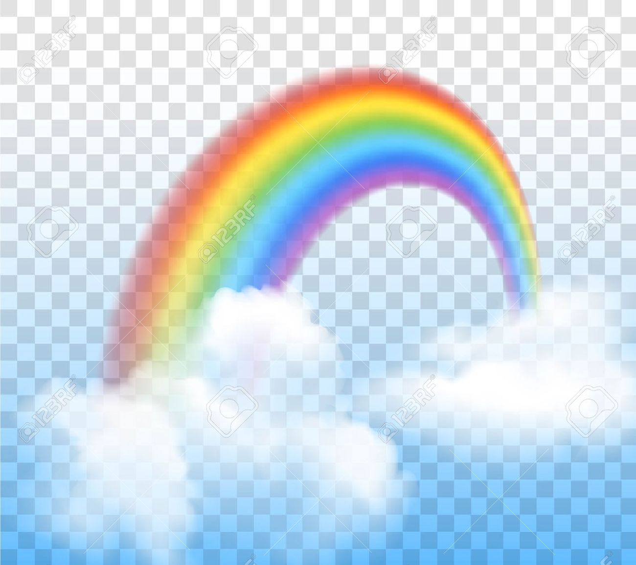 Bright Arched Rainbow With Clouds Realistic Vector Illustration On Transparent Background Stock