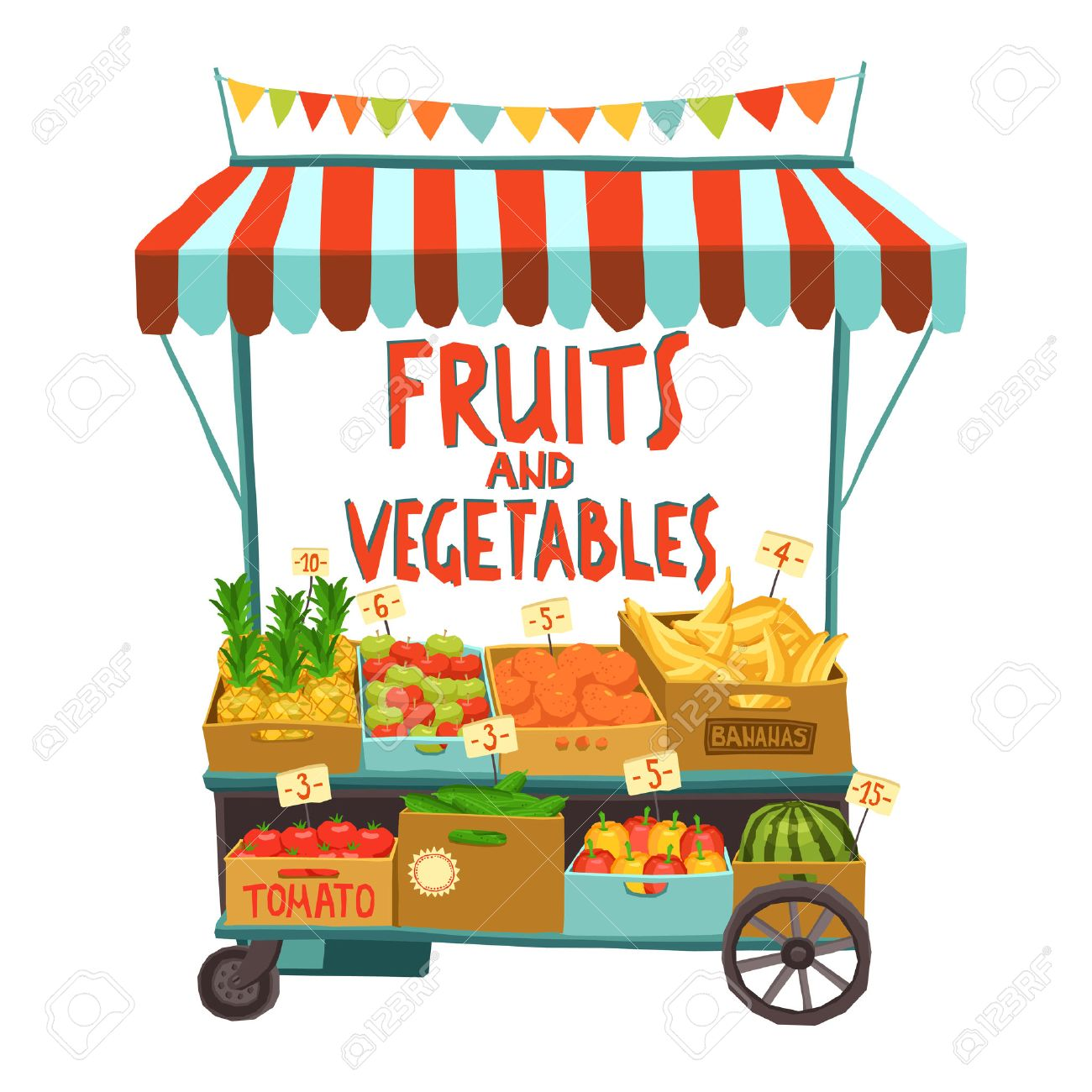 Street sale cart with fruits and vegetables cartoon vector illustration - 45163932