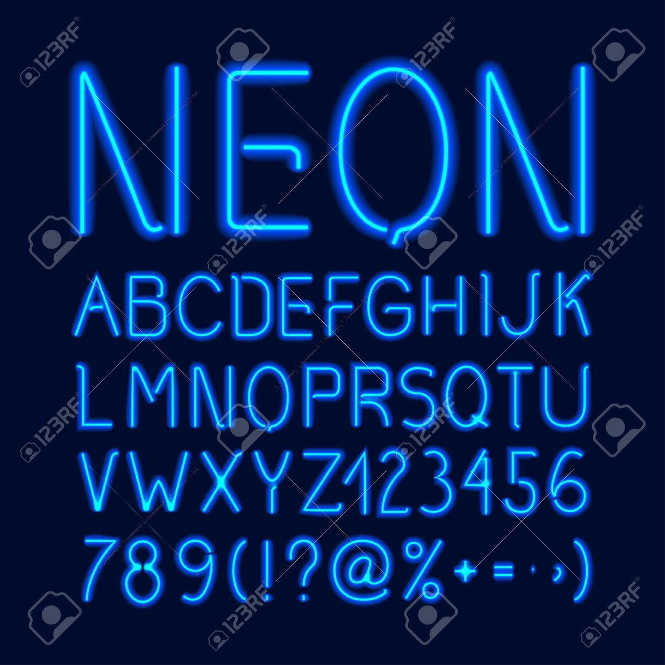 neon glow alphabet with blue letters numbers and symbols isolated on dark background vector illustration stock