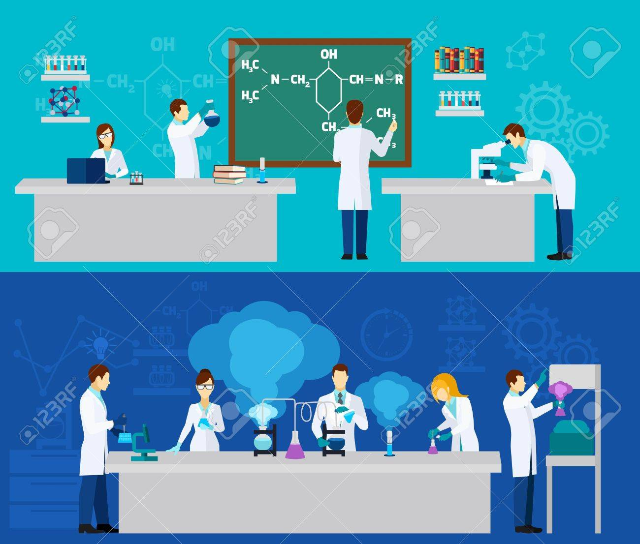 Scientist horizontal banner set with people in chemistry lab isolated vector illustration - 45319592