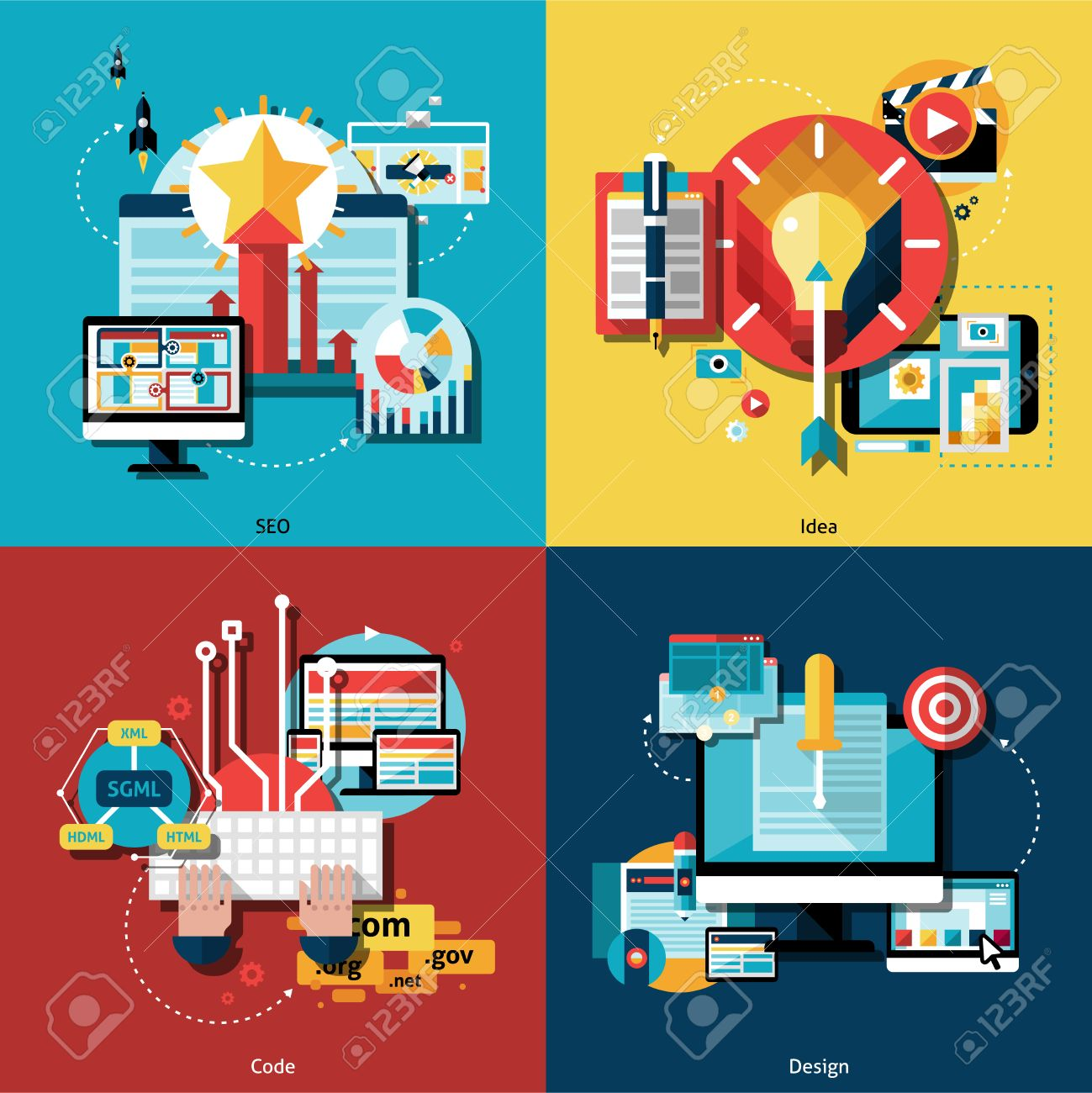 creative project and ideas icons set with web codes design and seo flat isolated vector illustration - Ideas For Graphic Design Projects