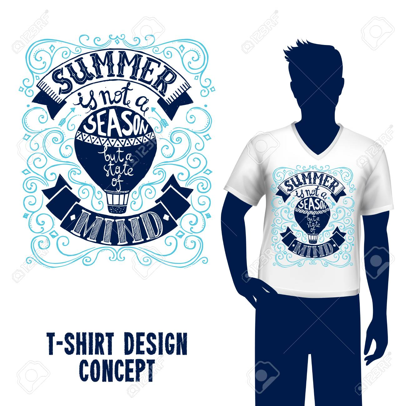 2eef1b910c2ab Man silhouette in t-shirt with hot air balloon design and summer..