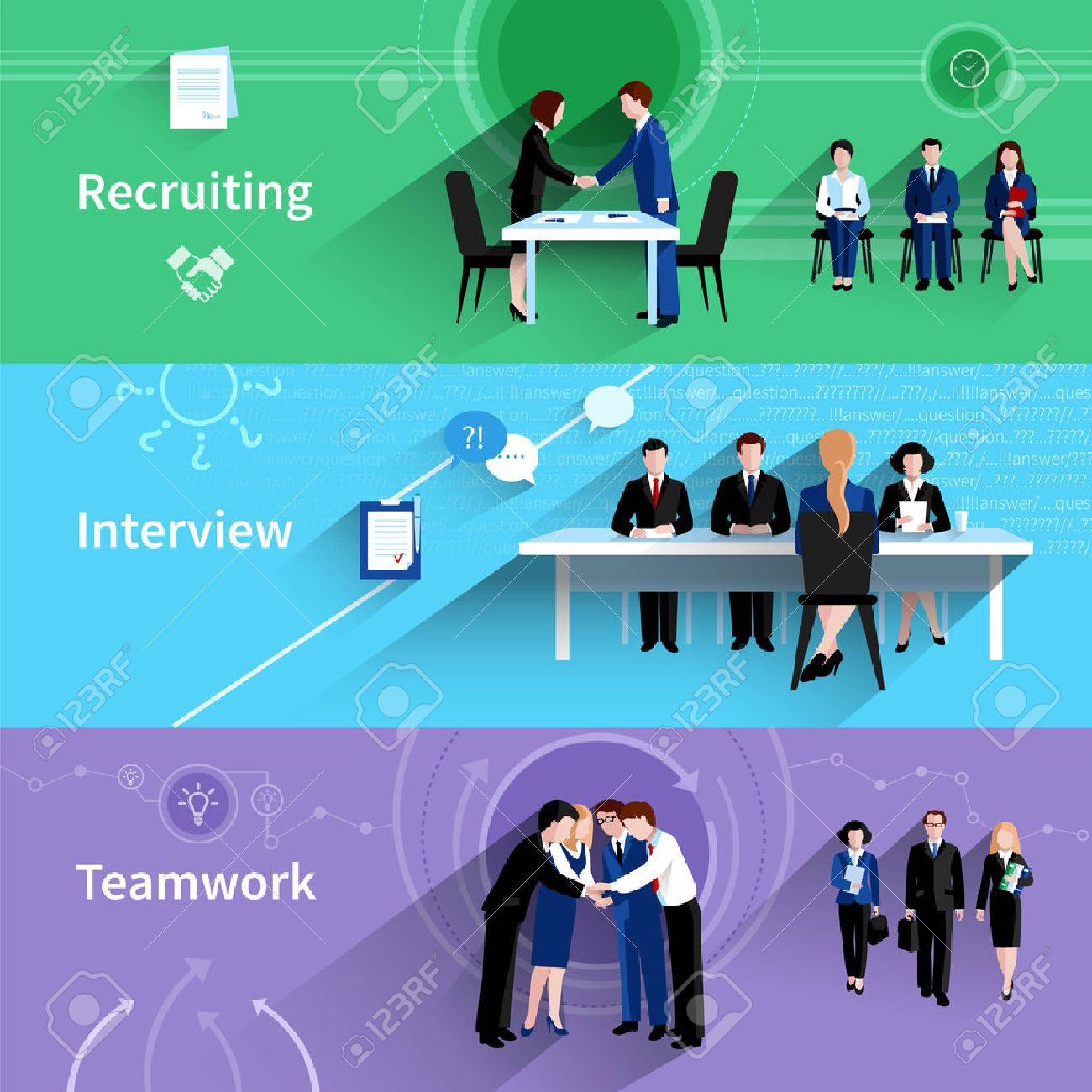 human resources personnel recruiting interview and teamwork  human resources personnel recruiting interview and teamwork 3 flat horizontal banners abstract slant shadow isolated vector