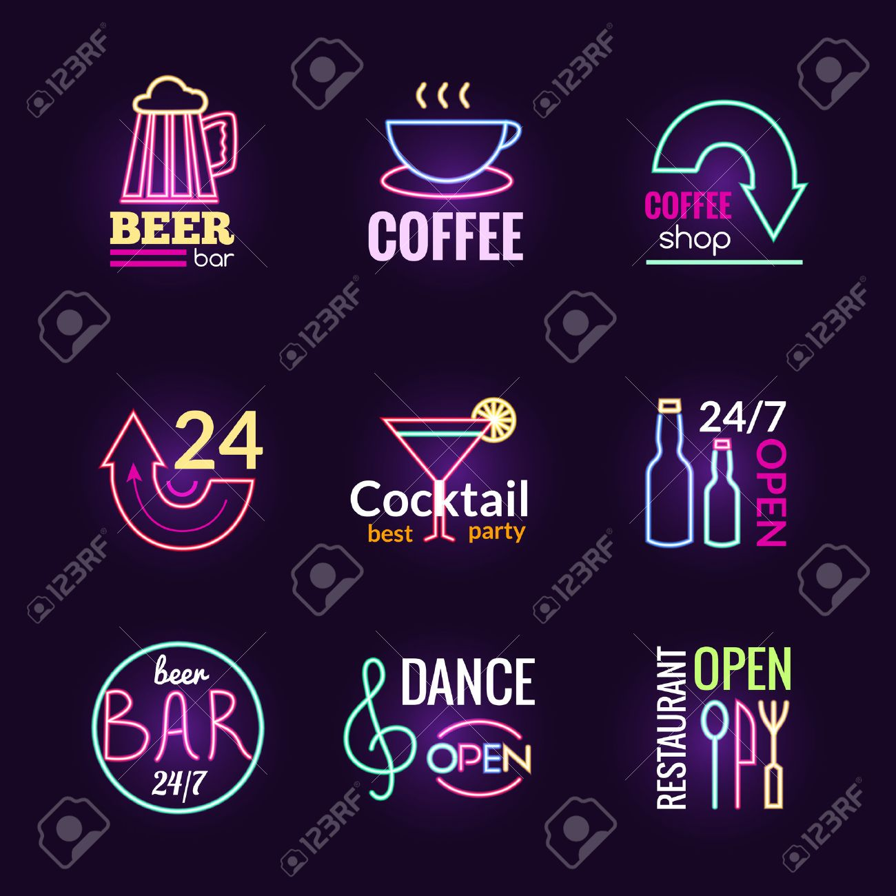 Restaurant bar and dance club neon signs set isolated vector