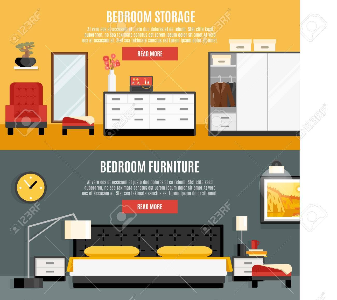 Banderas Horizontales Del Sistema De Dormitorio Con Muebles Y ...