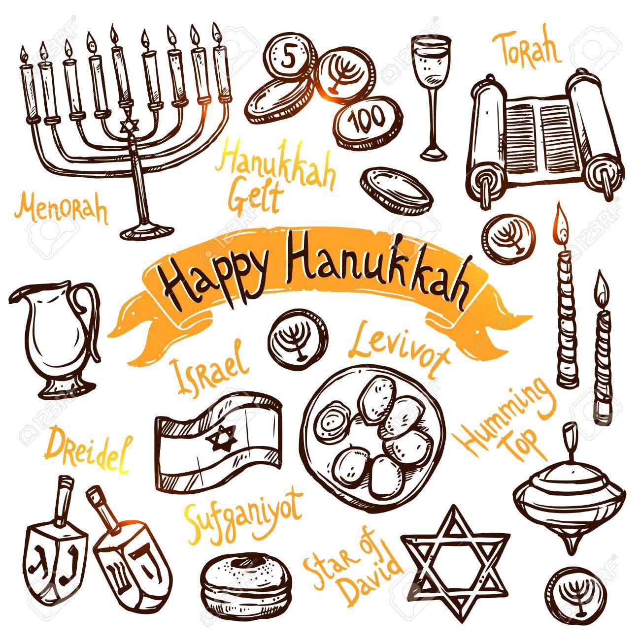 Hanukkah Traditional Jewish Holiday Doodle Symbols Set Isolated