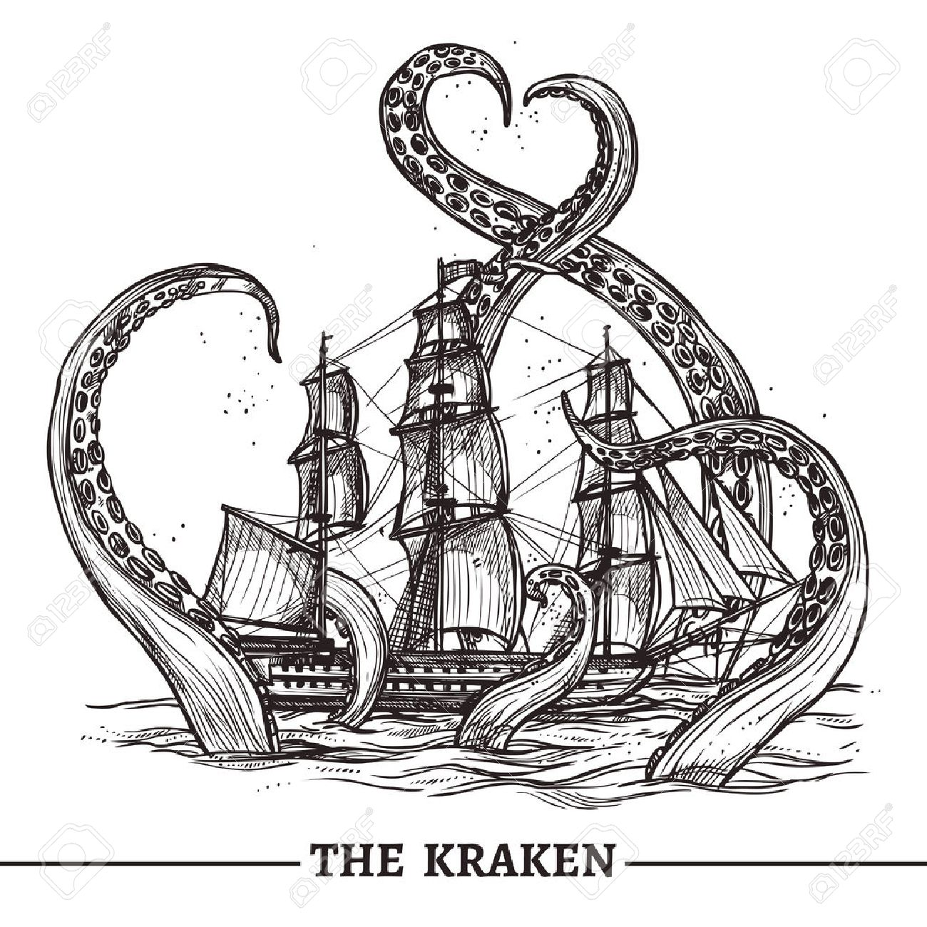 Giant octopus catches old style sail ship hand drawn vector illustration - 45347899