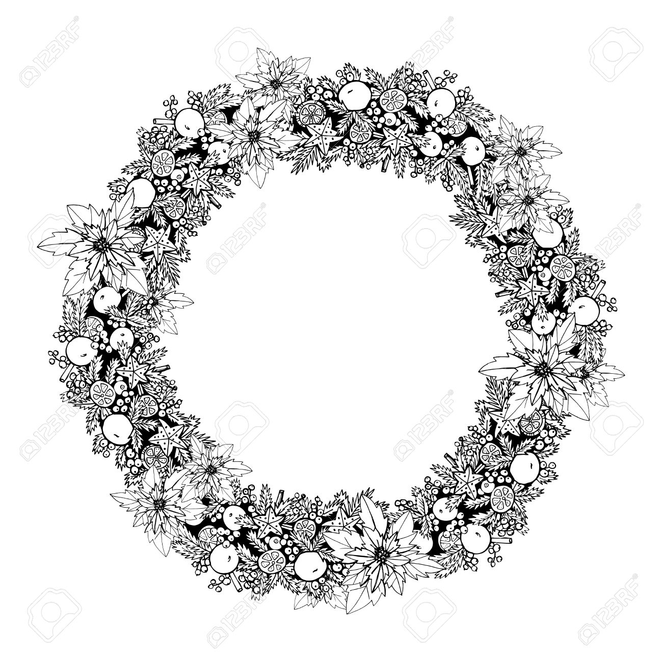 black and white christmas holiday decoration wreath frame vector illustration stock vector 45347916 - Wreath Frame