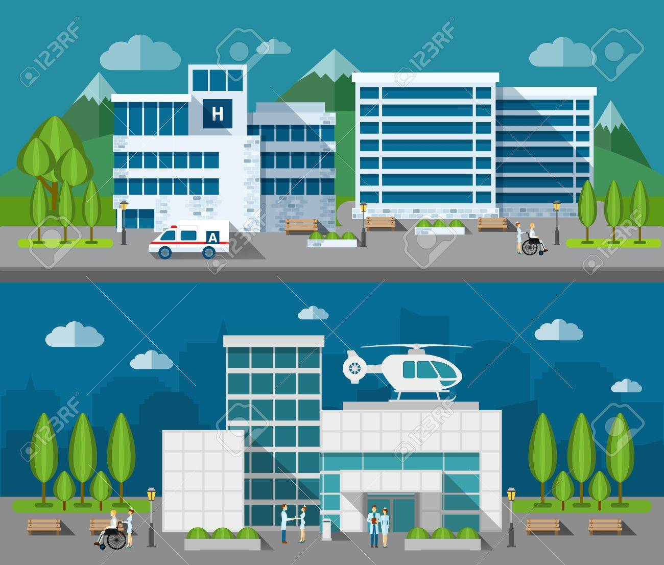 Hospital buildings front flat horizontal banner set isolated vector illustration - 45350104