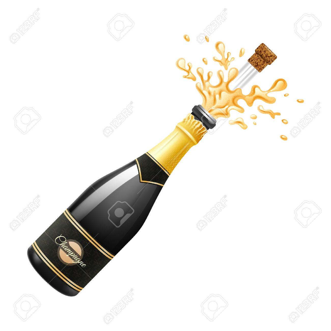 Noir Explosion De Bouteille De Champagne Avec Du Liege Et Les