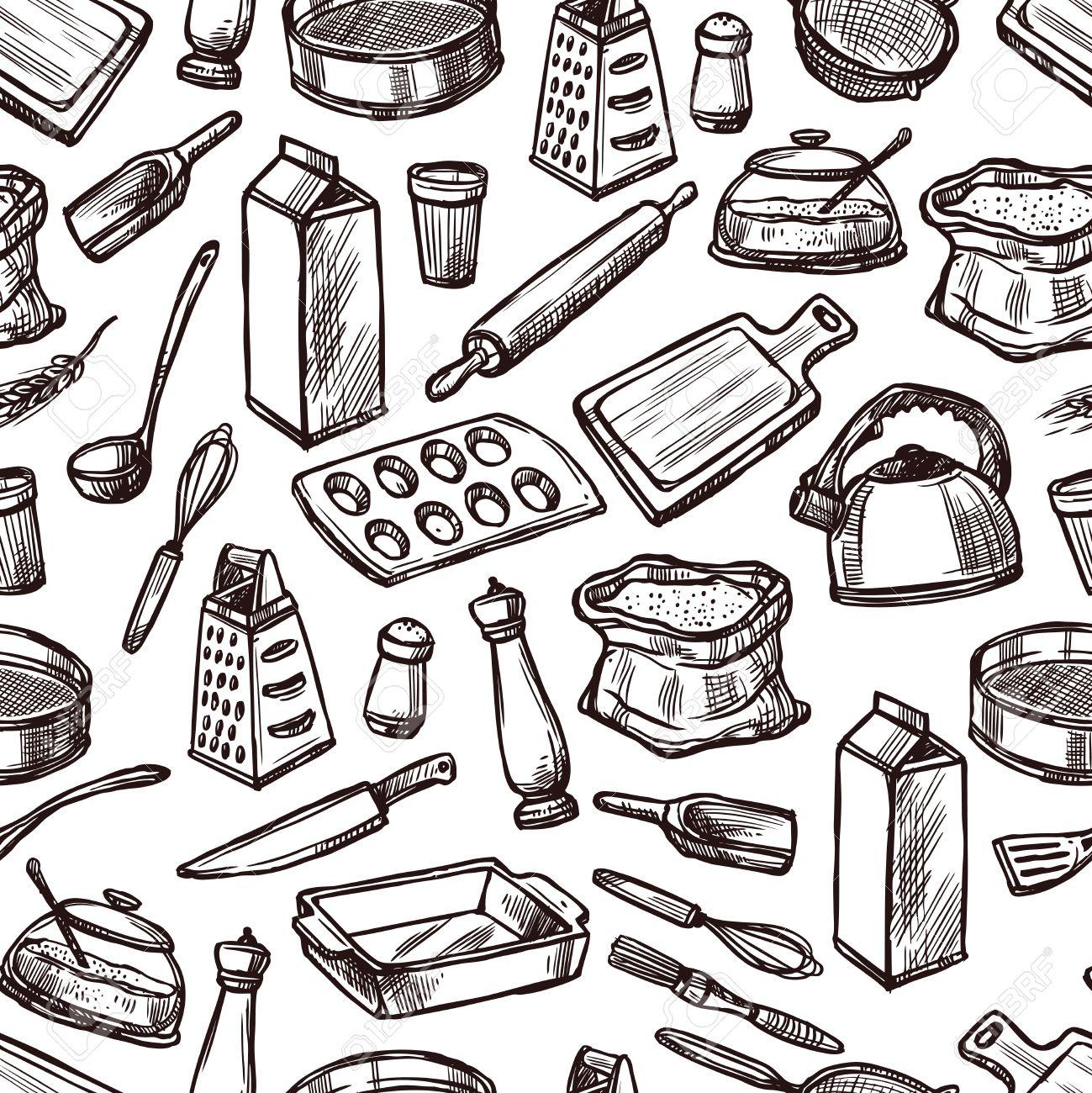 attrezzi cucina cottura seamless con attrezzature da cucina e strumenti di disegno illustrazione vettoriale