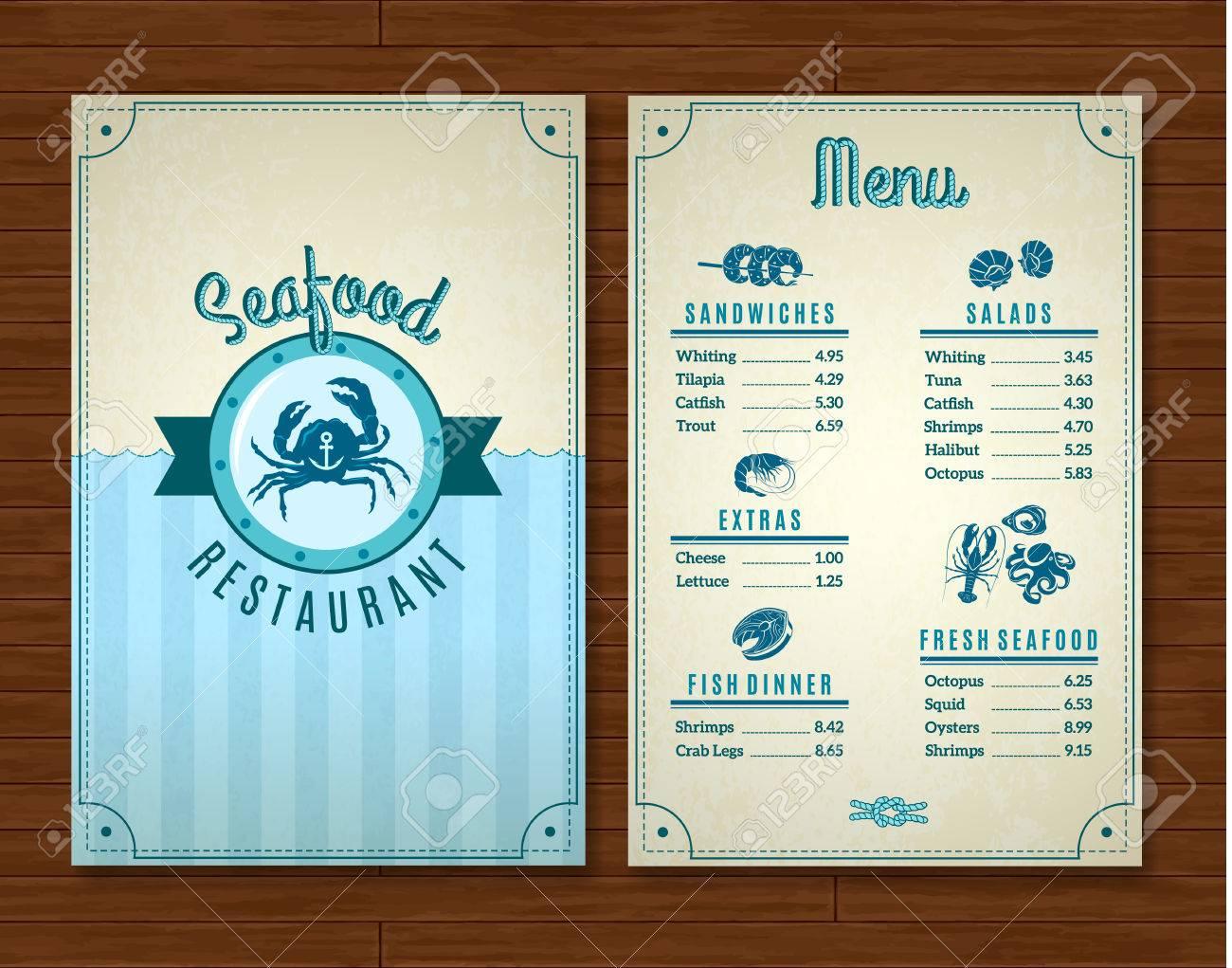 seafood restaurant menu template with ocean design symbols vector