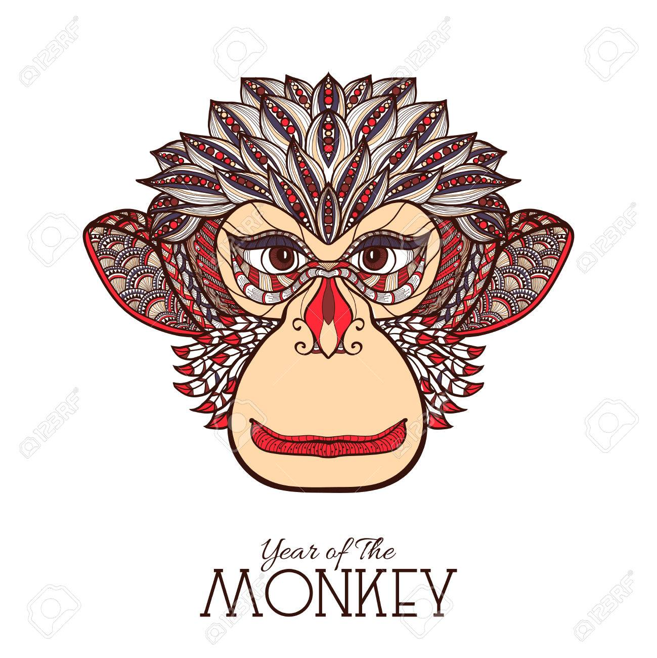 colored monkey front view face hand drawn sketch vector