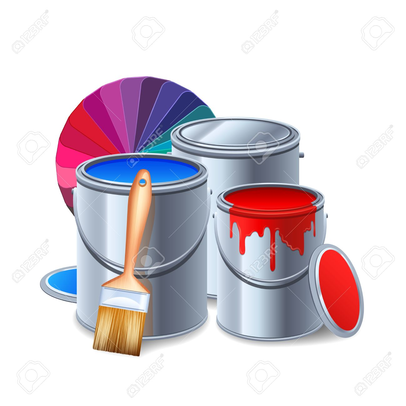 painting tools and equipment realistic composition with paint