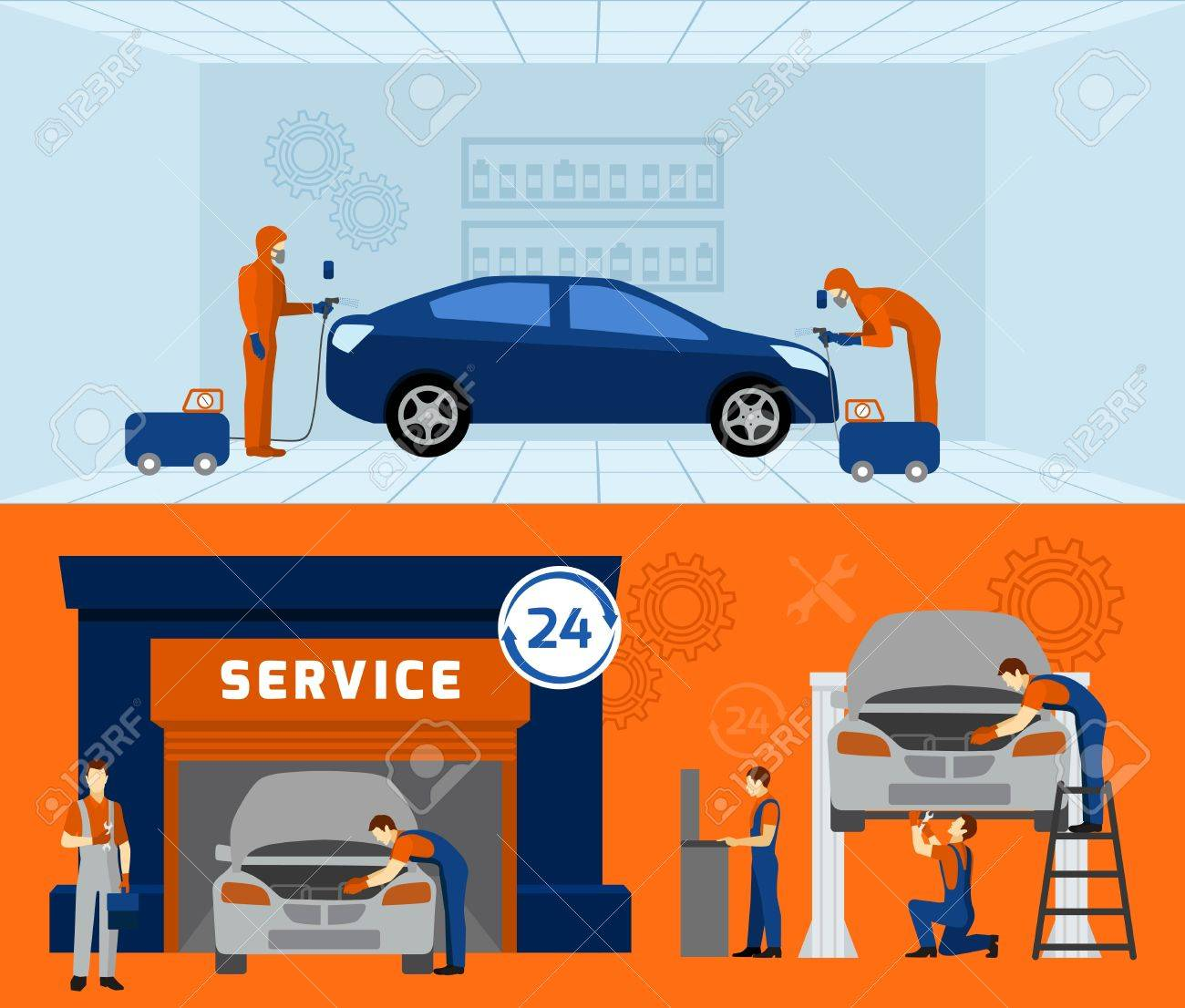 Auto Mechanic Garage Service 2 Flat Banners Set With Car Maintaining And  Renovation Abstract Vector Isolated