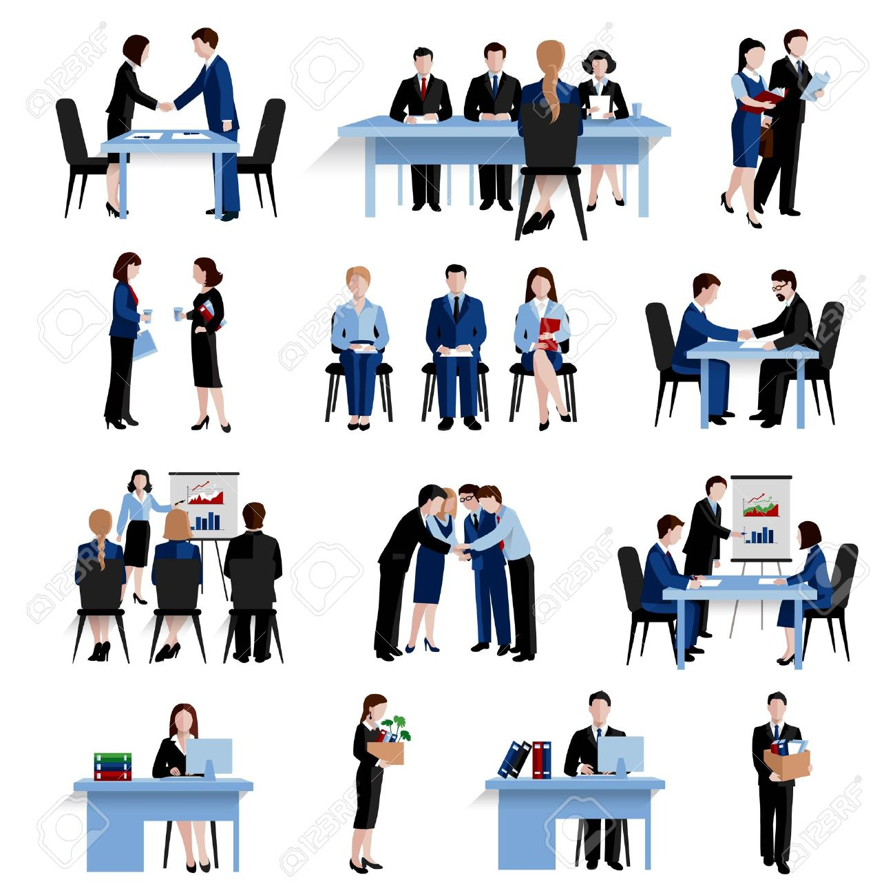 Human resources personnel selection interviewing recruitment and training strategy flat icons composition set abstract isolated vector illustration - 45350228