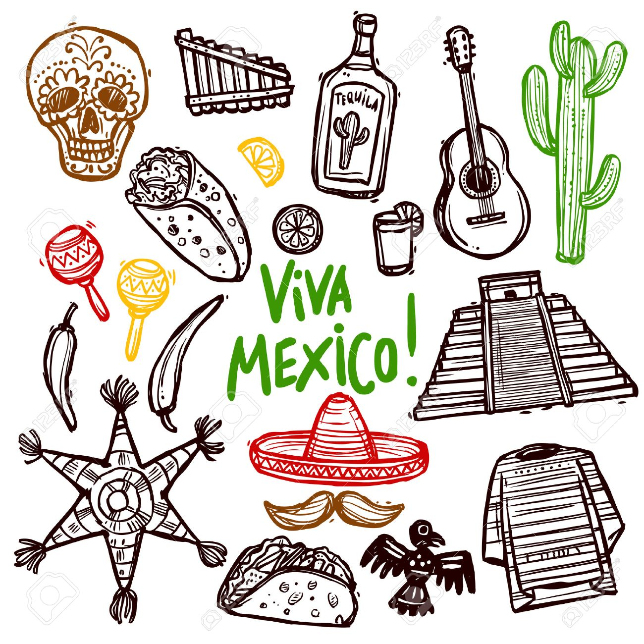 Mexico Doodle Icons Set With Hand Drawn Food And Culture Symbols