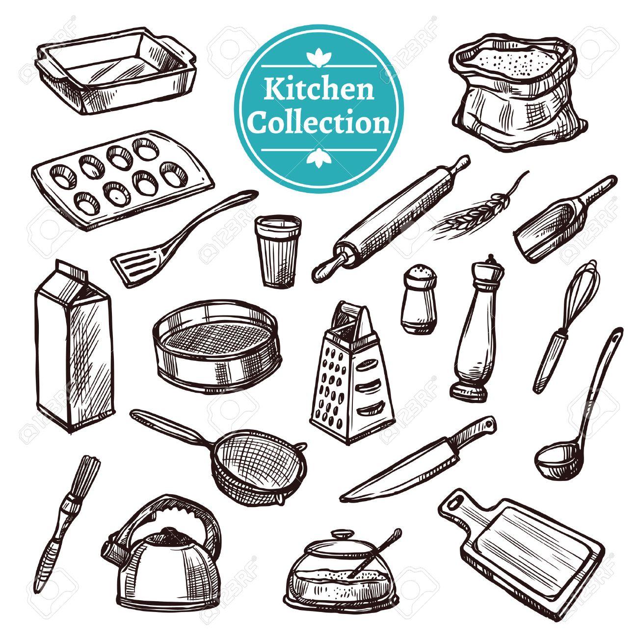 Baking stuff and retro kitchen equipment hand drawn set isolated vector illustration - 45351765