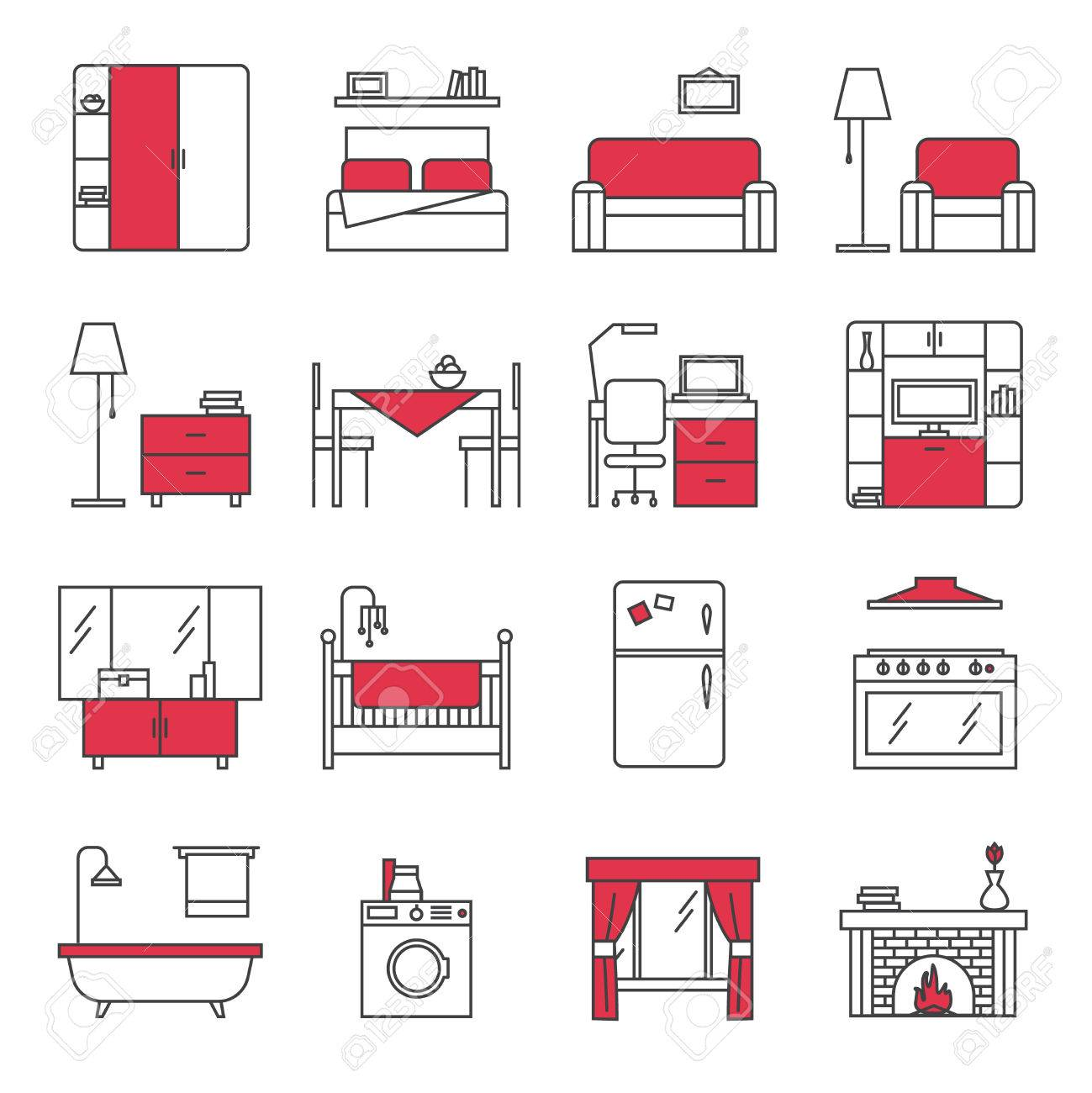 Iconos de línea de muebles de baño cocina dormitorio y salón rojo negro  plana aislados ilustración vectorial