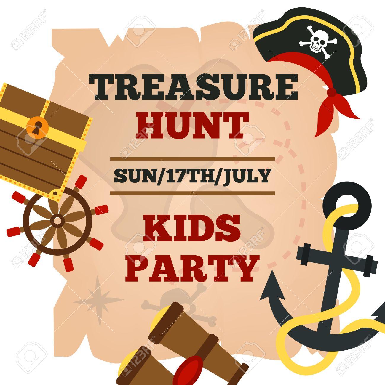 pirates hunt for treasure adventures kids party announcement