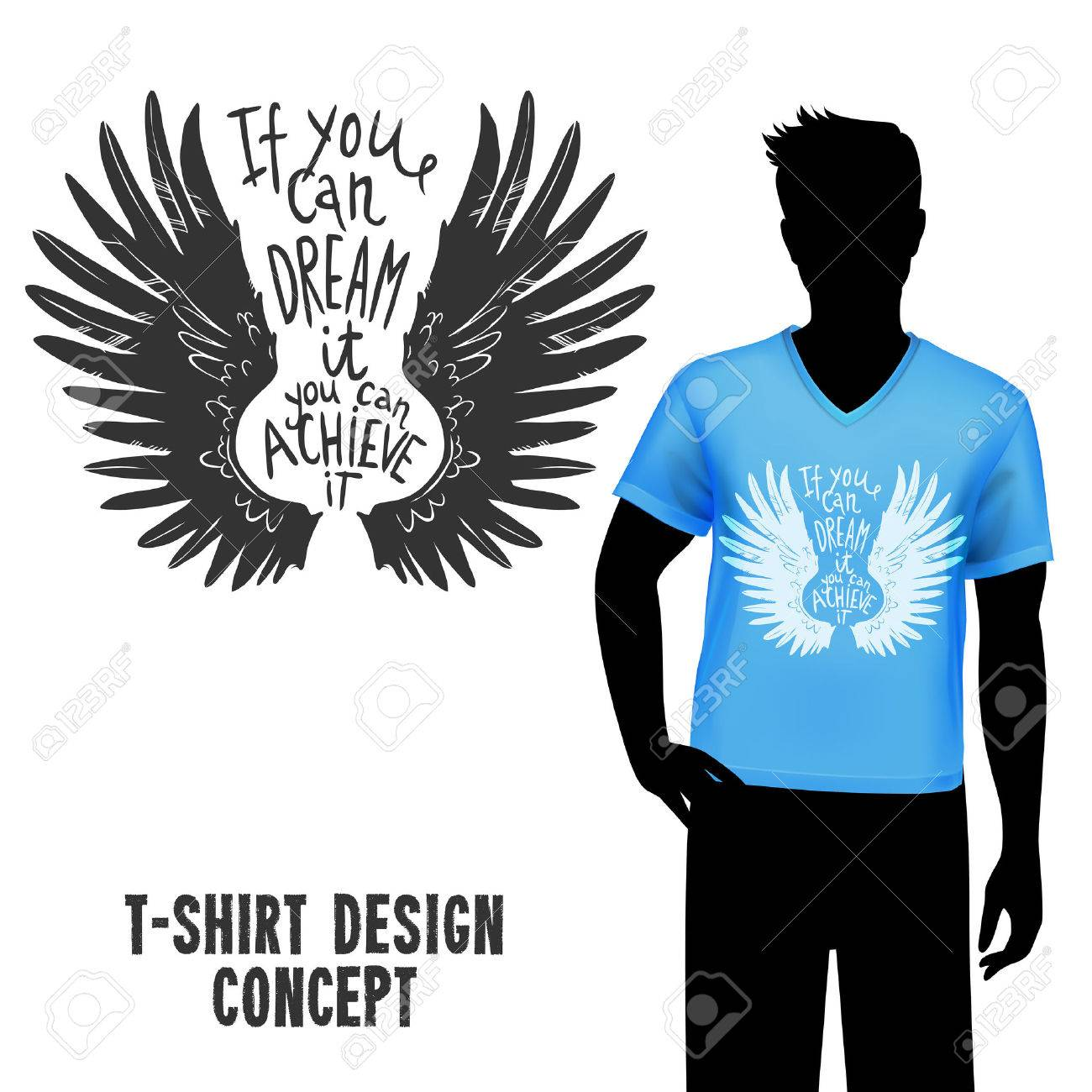 male figure in blue t shirt with sketch wings design and lettering vector illustration stock