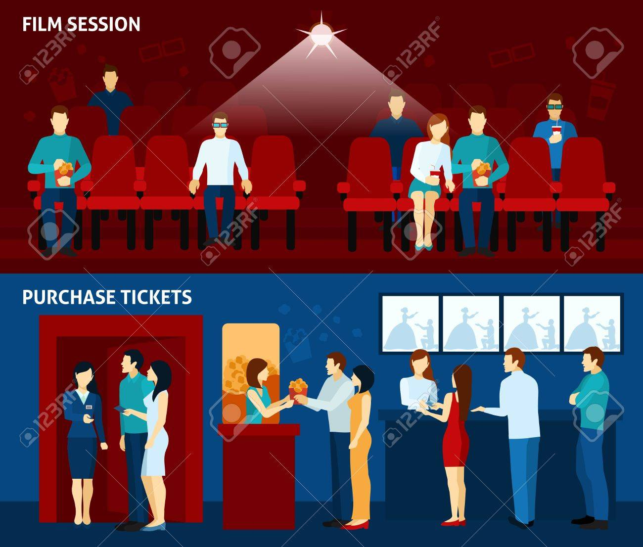 Movie Theater Film Show And Tickets Passes Reservations Payment Royalty Free Cliparts Vectors And Stock Illustration Image 45803161