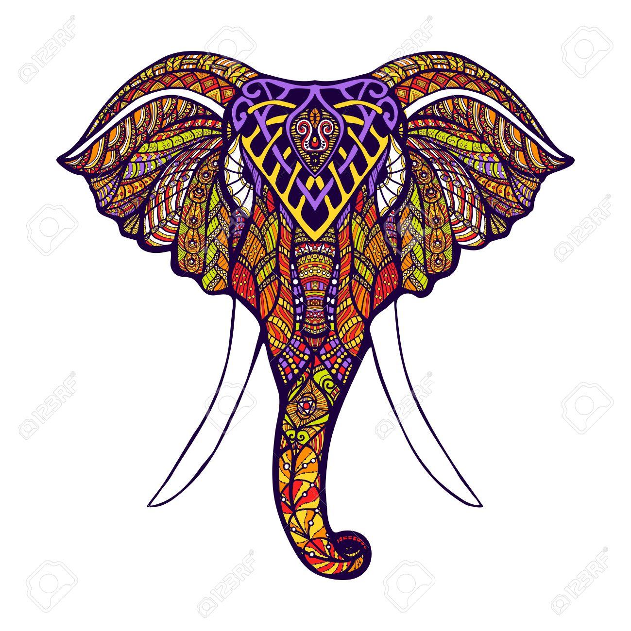 Frente Cabeza Vista De Elefante Con Color Dibujado A Mano ...