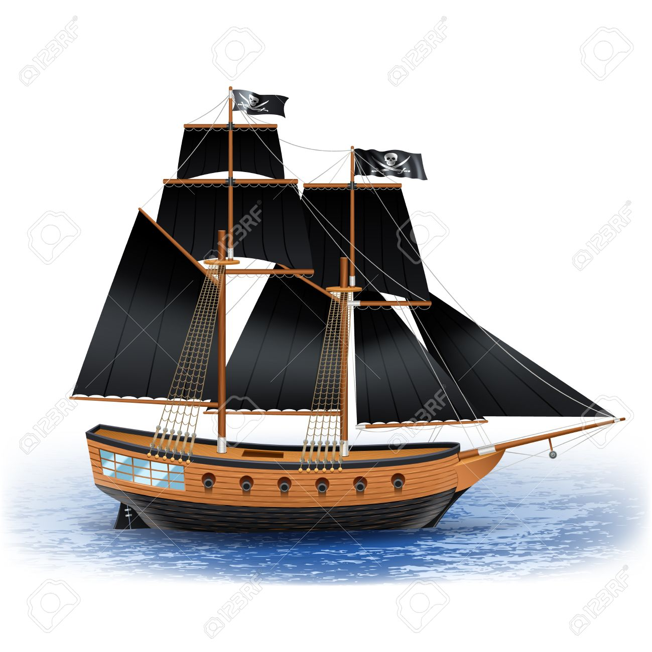 Wooden Pirate Ship With Black Sails And Jolly Roger Flag At Sea Realistic Vector Illustration Stock
