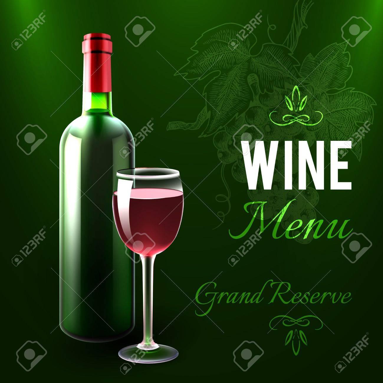 Wein-Menü-Vorlage Mit Rotwein-Flasche Und Glas Realistische Vektor ...